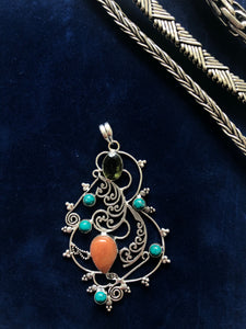 Citrine, Aventurine and Turquoise Pendant - Vz Collection