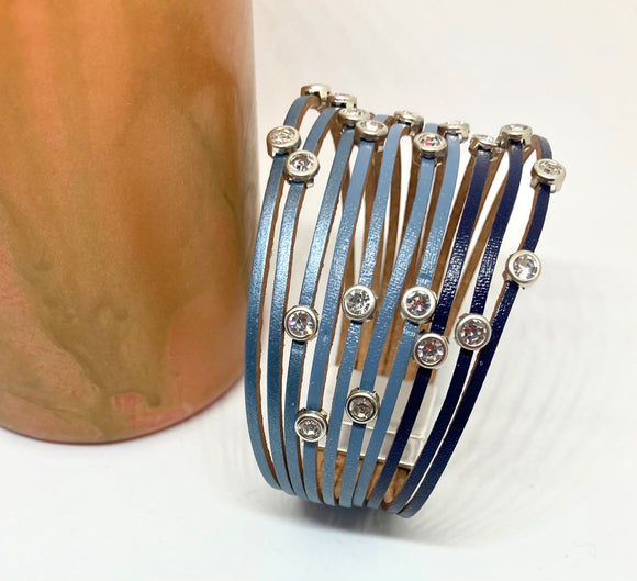 Multilayered Thin Leather Strands with Sparkles Magnetic Wrap Cuff Bracelet - VzCollection