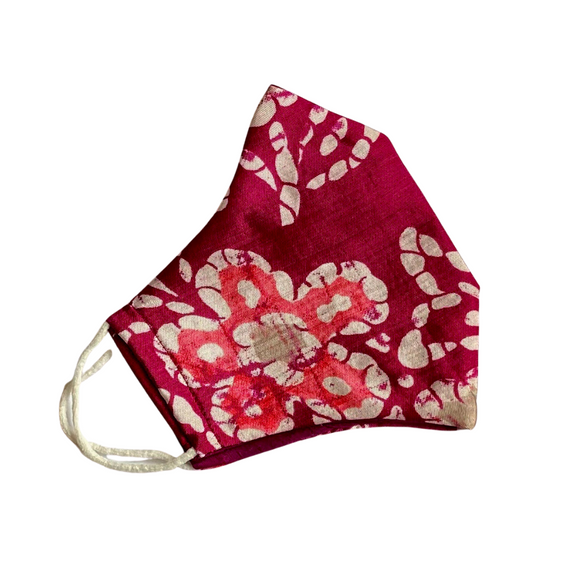 Abstract Floral Print on Burgundy Silk Face Mask - VzCollection