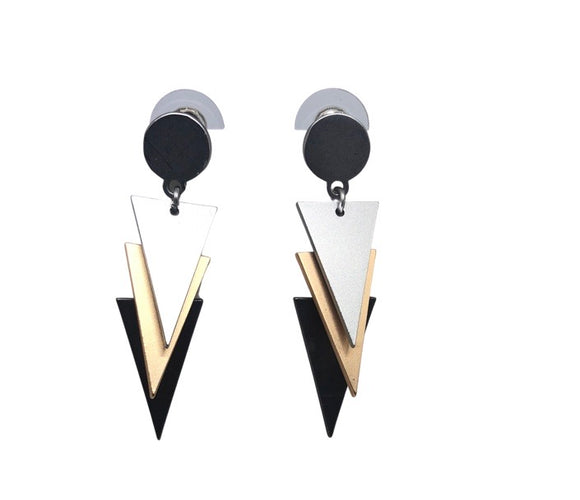 Triple Colour Metal Geometric Earrings - VzCollection