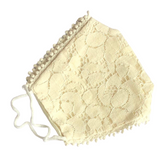 Ivory Lace with detail of Trim Cotton Face Mask - VzCollection
