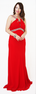 Red Full Length Ball Gown