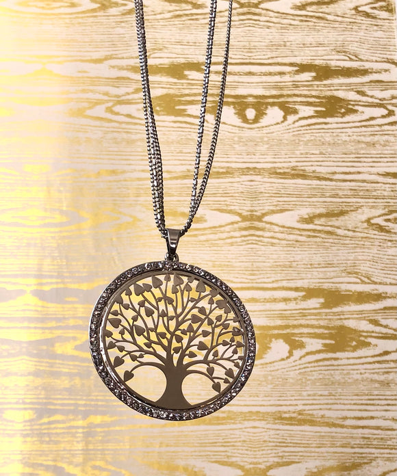 Art Nouveau influenced Laser Cut Tree of Life Pendant Long Necklace - VzCollection