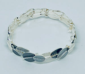 Silver and Grey Oval Bracelet with Sparkle - VzCollection