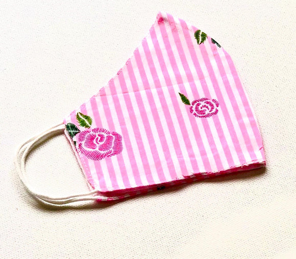 Pink and White Stripes with Roses Reusable Washable Cotton Face Mask - VzCollection