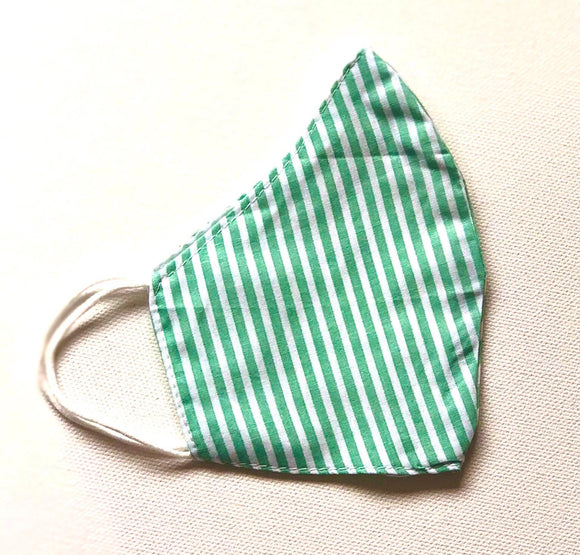 Aqua Green and White Stripes Reusable Washable Cotton Face Mask - VzCollection