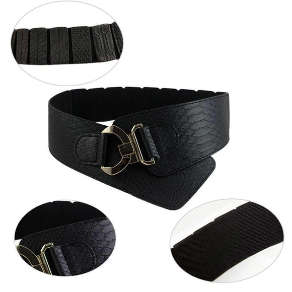 Faux Leather Belt with Elasticated Back - Vz Collection