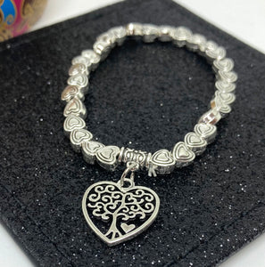 Heart Shaped Mulberry Charm with Heart Shaped Beads Elasticated Bracelet - VzCollection