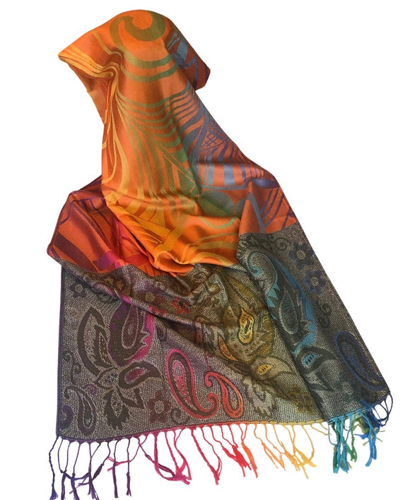 Abstract and Paisley Pattern Pashmina Scarf - VzCollection