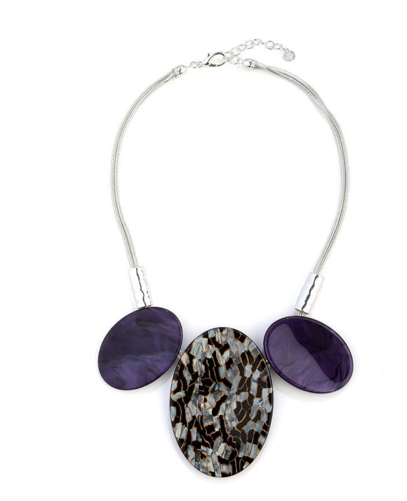 Purple and Earthy Print Oval Resin Beads Necklace - VzCollection