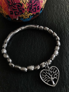 Heart Shaped Mulberry Tree Charm Elasticated Bracelet - Vz Collection