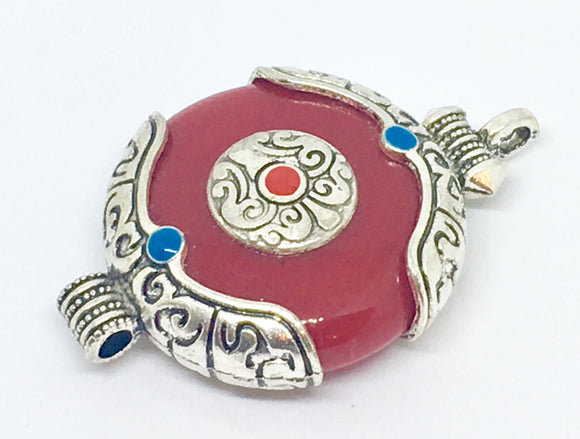 Red Tibetan Stone Pendant - VzCollection
