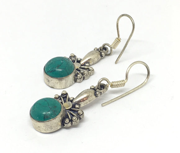 Turquoise Stone Earrings in Sterling Silver