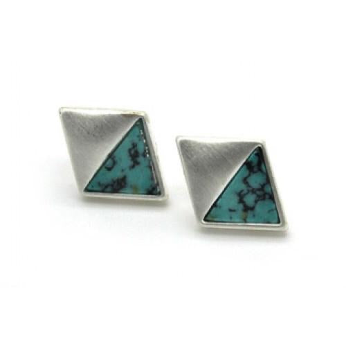 Diamond Shaped Stone Earrings laid in Matt Finished Nickel Free Metal - Vz Collection