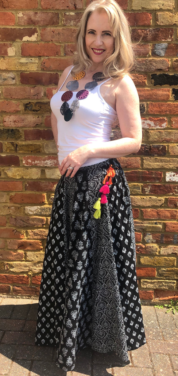 Bohemian Cotton Skirt with Indian Print Panels - VzCollection