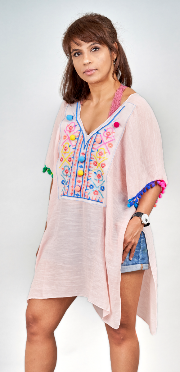 Soft Pink Embroidered Cotton Kaftan - Vz Collection