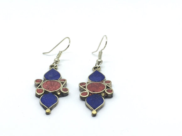Tibetan Influenced Tribal Tear Drop Earrings - VzCollection