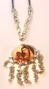 Mughal Lady with Mirror Print Long Necklace - Vz Collection