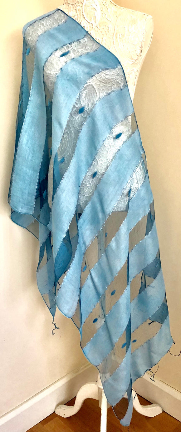 Glass Silk Scarf - Light Blue - VzCollection