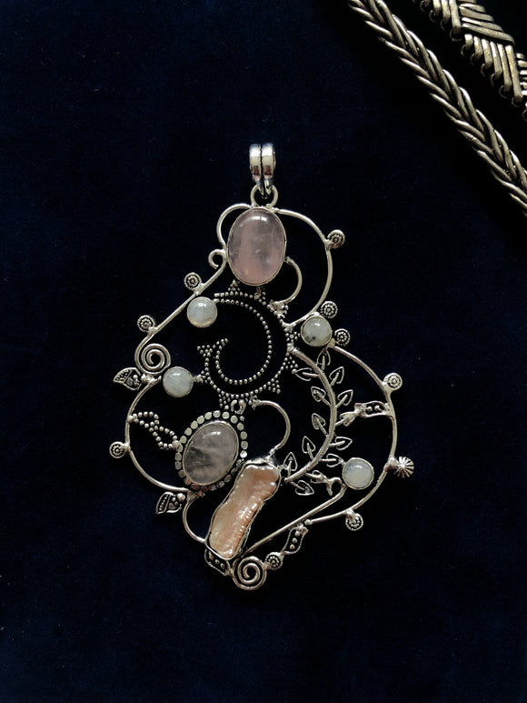 Rose Quartz, Moon Stone and Pearl Pendant - VzCollection