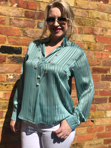 Teal Stripe Top in Italian Silk - VzCollection