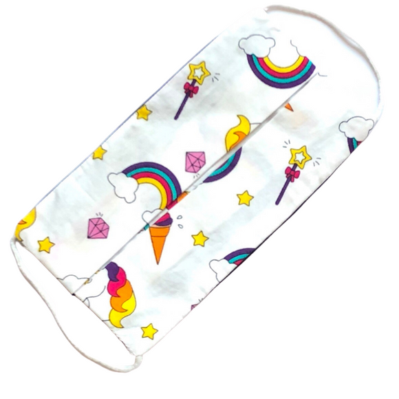 Rainbow and Unicorn Print Kids Cotton Face Mask - VzCollection