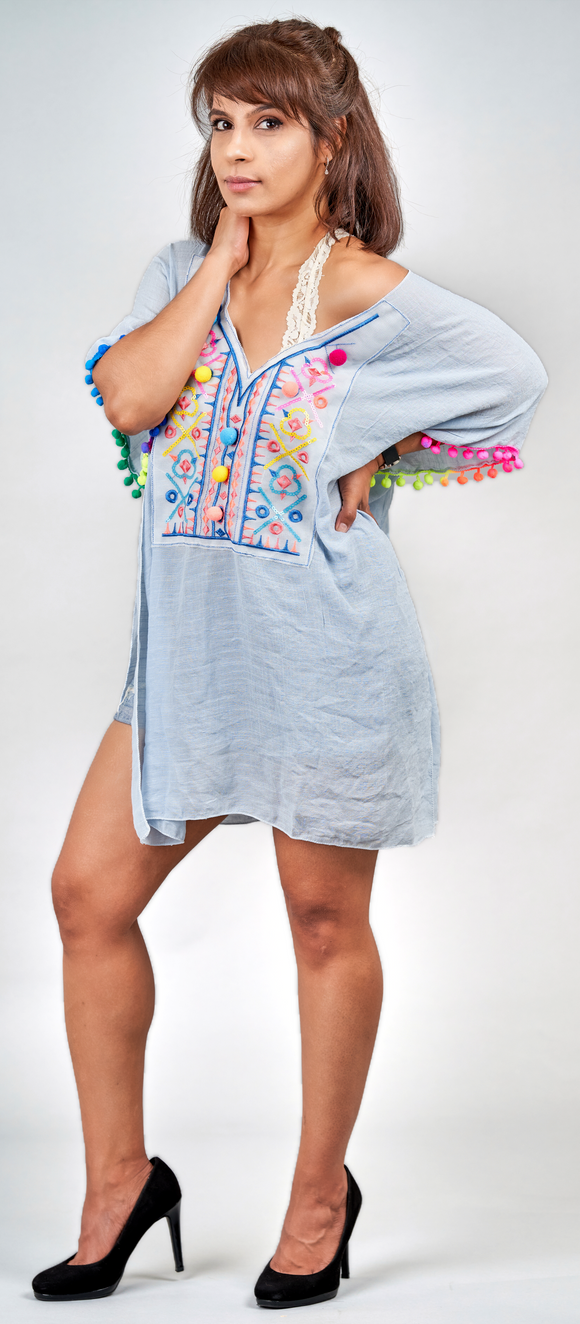 Blue Embroidered Cotton Kaftan - Vz Collection