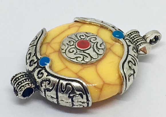Yellow Tibetan Stone Pendant - VzCollection