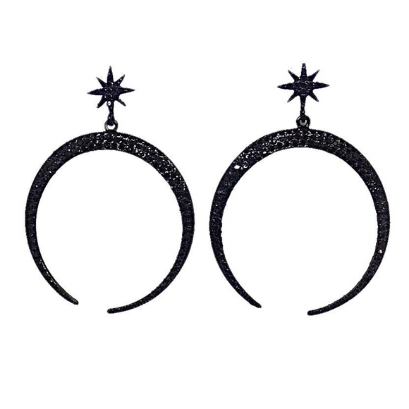 Moon and Star Sparking Earrings in Jet Black - VzCollection