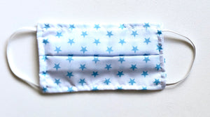 Blue Stars on White Kids Reusable Washable Cotton Face Mask - VzCollection