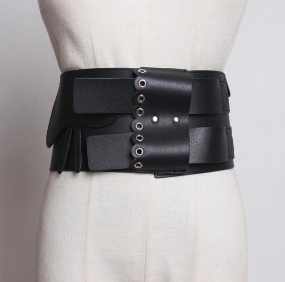 Black Leather Statement Belt - VzCollection