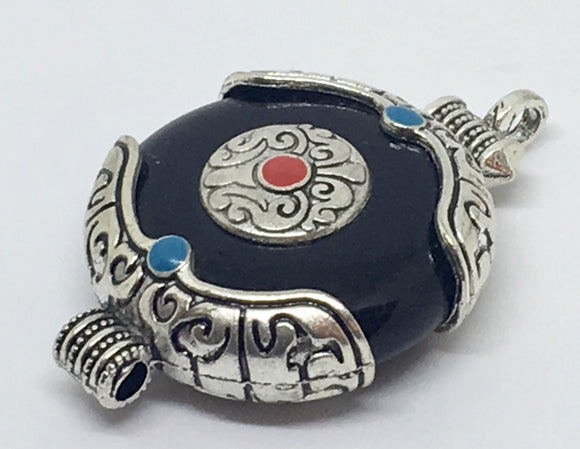 Black Tibetan Stone Pendant - VzCollection
