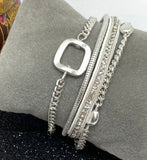 Multi Chain Magnetic Bracelet with Rectangle Bead - Vz Collection