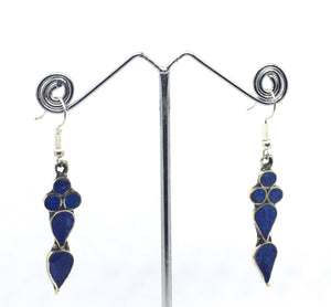 Tibetan Influenced Tear Drop Blue Earrings - VzCollection