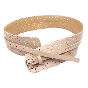 Cream Faux Leather Belt - VzCollection