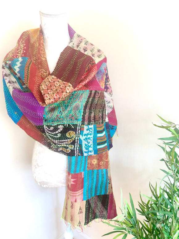 Multi Coloured Reversible Silk Scarves - VzCollection