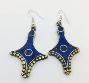 Tibetan Influenced Blue Saphire Earrings - VzCollection