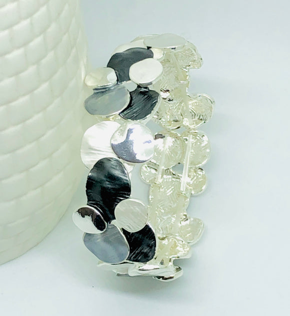 Abstract Black Grey and Silver Bracelet - VzCollection