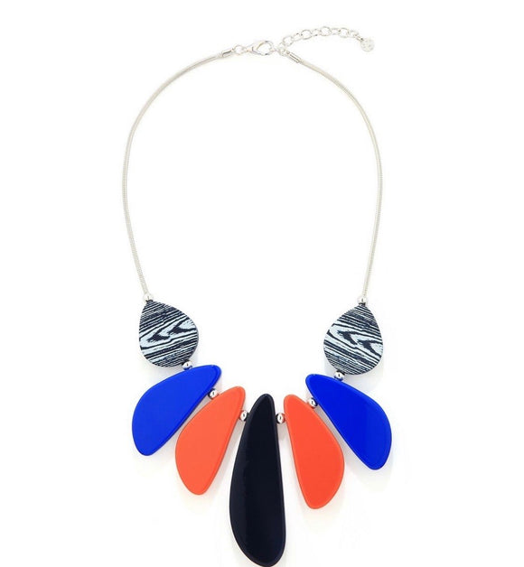 Navy and Cobalt Blue, Orange and Black and White Resin Beads Necklace - VzCollection