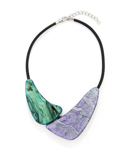Green and Lilac Reversible Resin Bead Necklace - VzCollection