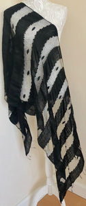 Glass Silk Scarf - Black - VzCollection
