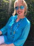 Turquoise Italian Silk Blouse - Vz Collection