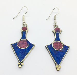 Tibetan Influenced Blue and Red Flower Petal Earrings