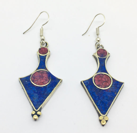 Tibetan Influenced Blue and Red Flower Petal Earrings - Vz Collection