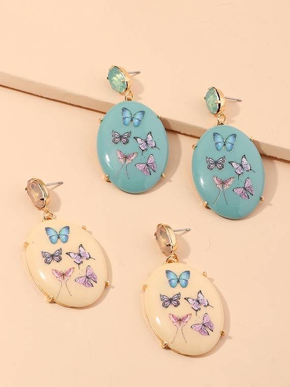 Earrings with Embossed Multicolour Butterfly Print - Vz Collection