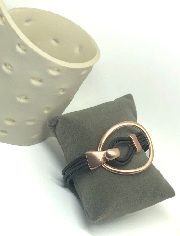 Contemporary Leather Strand With Rose Gold Hook Bracelet - VzCollection