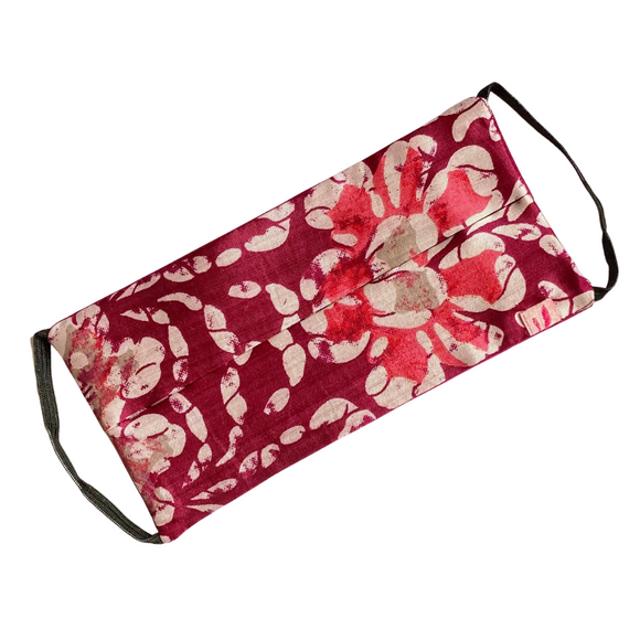 Abstract Floral Print on Burgundy Rectangle Silk Face Mask - Vz Collection