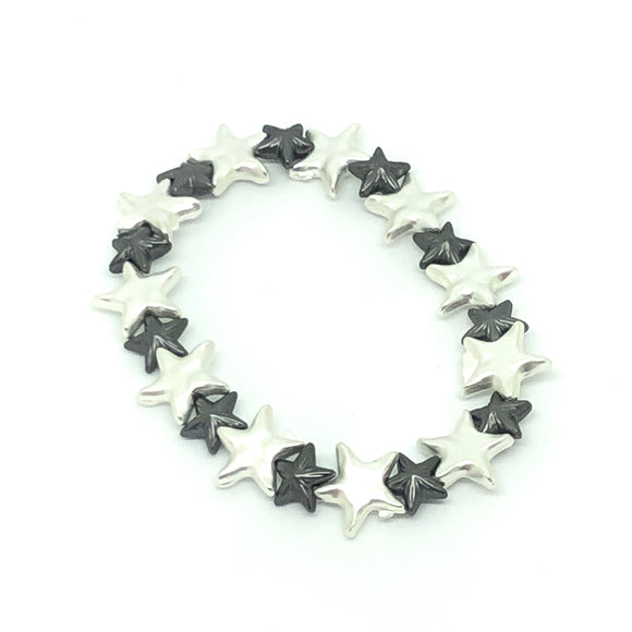 Black and Silver Star Bead Bracelet - VzCollection