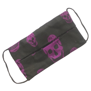 Purple Skull Print on Black Rectangle Cotton Face Mask - VzCollection
