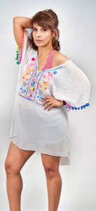 White Embroidered Cotton Kaftan - VzCollection